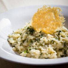 Parsley Risotto with Parmesan Crisps Parmesan Crisps, Grated Cheese, Oven Racks, Vegetable Stock, Cheese Sauce, Tray Bakes, Stir Fry, Parsley, Allrecipes