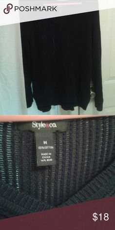 """Sale Black Cotton Sweater V neck comfy 100 % cotton. Longer sleeves which I love.  26"""" front 28"""" back. Great condition. Style & Co Sweaters V-Necks"""