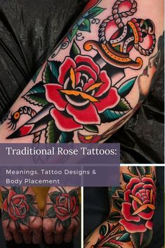 Traditional rose tattoos are popular with many thanks to their history within the tattooing community and their beautiful artistic opportunities. Luckily, there are many sub-styles of traditional rose tattoos that you can take and personalize to help make your own. Check out these popular traditional rose tattoo ideas to help inspire your rose piece! Traditional Rose Tattoos, Traditional Roses, Traditional Tattoo Design, American Traditional, Unique Tattoos For Women, Cool Tattoos For Guys, Cool Small Tattoos, Rose Chest Tattoo, Rose Hand Tattoo