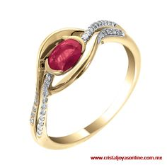 #Elegante #Sofisticado anillo oro amarillo 14k 11 puntos de diamante y 57 de rubí de venta en www.cristaljoyasonline.com.mx