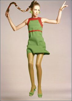 Twiggi in green jersey dressby Kimberly. P. Avedon, Vogue August 1, 1967