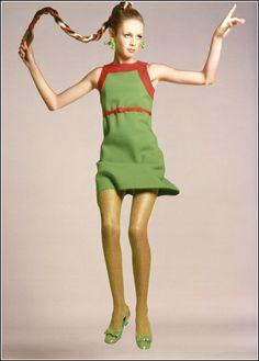 Twiggi in green jersey dressby Kimberly. P. Avedon, Vogue August 1, 1967