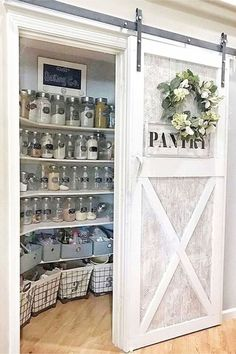 Sliding Barn Doors In the House - lots of sliding barn door ideas! Love these sliding pantry barn doors in this farmhouse kitchen! haus Sliding Barn Doors - DIY Sliding Barn Door Ideas For Your Home - Involvery Diy Sliding Barn Door, Diy Barn Door, Sliding Pantry Doors, Barn Door Pantry, Kitchen Pantry Doors, Kitchen Pantry Design, Wall Pantry, Small Kitchen Pantry, Kitchen Pantries