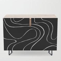Ebb and Flow 2 - Black on White Credenza by laec | Society6 Ebb, Black Interior, Furniture, Interior, White Credenza, Bedroom Set, Credenza, Home Decor, White