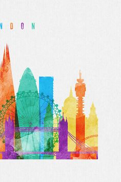 Skyline von London Aquarell print Aquarell von ArtPrintsVicky