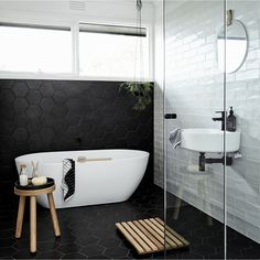 Luxury Master Bathroom Ideas Decor is no question important for your home. Whether you pick the Small Bathroom Decorating Ideas or Luxury Bathroom Master Baths With Fireplace, you will make the best Luxury Master Bathroom Ideas for your own life. Hexagon Tile Bathroom, Black Hexagon Tile, Bathroom Tile Designs, Bathroom Interior Design, Bathroom Ideas, Hexagon Tiles, Bathroom Taps, Master Bathroom, Black Tiles