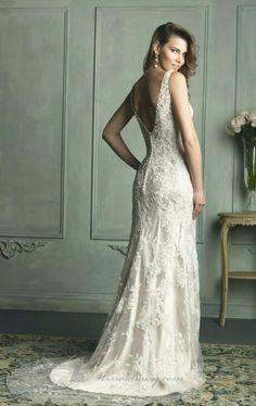 Vintage Inspired Scallooped Edge Neckline Column Lace Bridal Gown Wedding Dresses Pinterest Gowns Columnodest