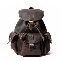 Fashion Men Women Real Leather Vintage Large Cowhide Backpack Real Cowhide  Bag Distressed Leather e8d50f96fcef7