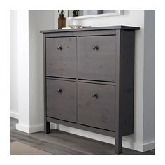 hemnes shoe cabinet with 4 compartments gray dark gray stained dark gray stained 42 1