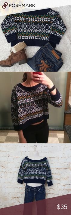 """Urban Outfitters BDG Nordic Fair Isle Crop Sweater Excellent condition like new Urban Outfitters comfy cozy heavy knit cropped sweater in a Fair Isle pattern. Very soft with 3/4 sleeves. Wide neckline to wear off shoulders if you prefer. Perfect for the season! 22"""" across from armpit to armpit and 17"""" long from shoulder to hem Urban Outfitters Sweaters"""