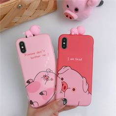Funny Lazy pig Phone Case For iphone X Case For iphone 6 7 8 plus Back Cover Fashion Cute Cartoon Soft TPU Cases Lovey Capa Bff Iphone Cases, Bff Cases, Cute Cases, Cute Phone Cases, Diy Phone Case, Best Friend Cases, Telephone Iphone, Matching Phone Cases, Kawaii Phone Case