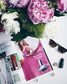 Mood  #flatlay #peonies #magazine #sunglasses #lipstick #pink #currentmood