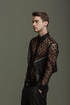 Black Lace button-up mens' shirt.