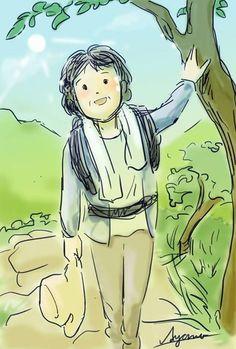 ハイキング中の母。