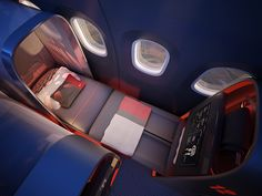 Nike Helps Design a Swank Jet for Traveling Sports Teams | Enhanced seatback screens allow players to break down game film on the way to a city and watch highlights on ESPN on the way home, all while fully reclined.  Teague  | WIRED.com