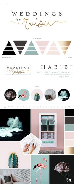 Wedding Photographer. Luxe with a dash of fun. Refined elegance. Gold texture. Mint. Pink. Grey. Blush tones. Moody and Marvelous! Mood Boards. Branding. Graphic Design. Inspiration. Professional Business Branding by Designer Laine Napoli. Web Design, Logo, Mood Board, Brand Boards, and more.