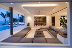 tropical living room with large lounge area living room tropical and blade ceiling fans - Remodel Living Room Drapes, Sunken Living Room, Ceiling Design Living Room, Living Room Designs, Living Room Decor, Bedroom Ceiling, Living Rooms, Luxury Life, Luxury Homes