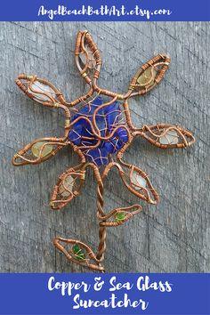 Copper Suncatcher Sea Glass Flower Copper Art Wire Wrapped