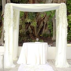 Chuppah Canopy ( common to traditional Jewish ceremonies) adds soft elegance to any wedding. Get creative with multiple choices of fabric draping, and embellish with flowers for a stunning effect. Army Wedding, Our Wedding, Wedding Ideas, Wedding Stuff, Wedding Things, Dream Wedding, Elegant Wedding, Floral Wedding, Peacock Wedding