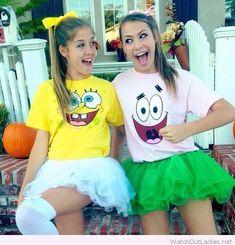 Hallowen Costume Couples Spongebob and Patrick cute teen Halloween costume Cute Halloween Costumes For Teens, Best Friend Halloween Costumes, Hallowen Costume, Diy Halloween, Halloween Duos, Teen Girl Costumes, Halloween Costumes For Twins, Twin Costumes, College Costumes