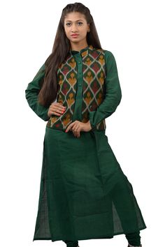 d96eb0987e plain green long kurti in dark traditional colours with a matching ikkat  waist coat which is a perfect clean look you want this season.
