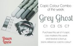 Grey Ghost - a cool grey combo for grey and black. #copic #grey #gray