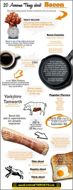 Bacon is one of the most popular and oldest meats in history.  This infographic highlights twenty awesome facts about Bacon in a mouth watering way.