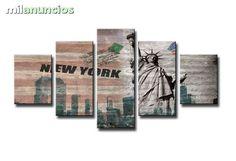 . Bonito cuadro en lienzo Nueva York, alta calidad resolucion mgpx. Magnifico cuadro en lienzo de 5 piezas - totalmente nuevo precintado - la mejor calidad con la medida total 160 cm de ancho 80 cm largo , el cuadro enmarcado listo para colgar, env�o y entr