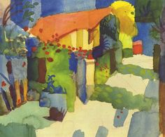 Auguste Macke, House in the garden 1914. Genre: landscape. Technique: Watercolor