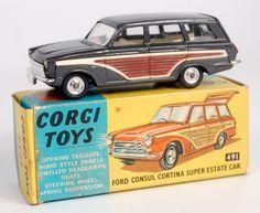 Corgi Toys, 491 Ford Consul Cortina Super Estate car, metallic dark grey body with brown and cream
