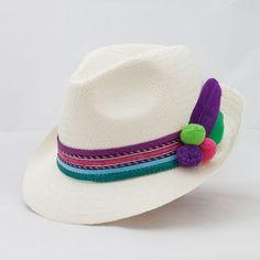 Sombrero modelo borsalino de paja natural con cintas de colores 0b12888888f