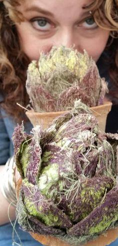 Artichokes #art #embroidered #craft #3d #fabric #thread #sculpture #craft Cabbages, Artichokes, Fruit And Veg, Soft Sculpture, Sewing Techniques, Fabric Art, Textile Art, Needle Felting, Fiber Art