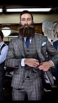 Checkered Suit + Pocket Square + The Best Beard