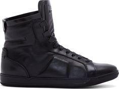 Calvin Klein Collection: Black Leather Paneled High-Top Sneakers | SSENSE