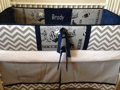 Navy gray sports Baby bedding Boy Crib set DEPOSIT by abusymother