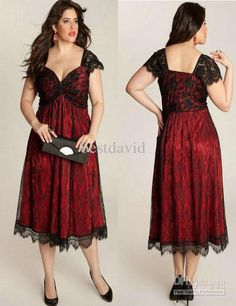 Wholesale Plus Size Cap Sleeve Lace Mother Party Dresses 2013 Sweetheart Black/Rouge Ruched A-Line Tea Length, Free shipping, $139.77/Piece | DHgate