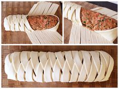 Fold the alternating strips over the sausage filling to make the plait.