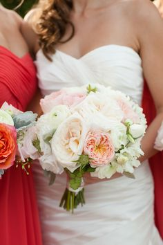 Wedding Colors: From Pink to Coral - Stunning! #Bouquet   See the wedding on SMP: http://www.StyleMePretty.com/rhode-island-weddings/newport-ri/2014/01/24/newport-wedding-at-the-regatta-place/ Deborah Zoe Photography