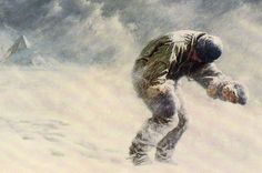 """Depicted is Captain Oats on the Terra Nova Expedition led by Robert Falcon Scott. Polar expeditions became an arena for men to perform heroic or gentlemanly deeds. Due to crippling Frostbite, Captain Oats was endangering the expedition by slowing them down. In an attempt to save the mens lives, he told his crew that he was """"going outside"""", walking into the cold and committing suicide. Achieving glory and performing heroic deeds helped motivate polar exploration."""