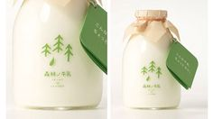 Adorable design for the Milk Forest brand of milk created by Japanese design studio Rise Design Office.