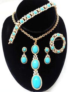 Crown Trifari Turquoise Necklace Bracelet Earring Brooch Gold Tone Parure Set | eBay