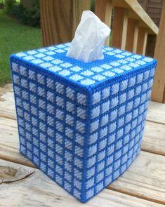 Blue Windowpane Square Tissue Cover handmade Boutique size acrylic yarn & canvas  | eBay