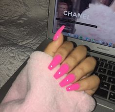 Cute Nails in 2019 Pink acrylic nails coffin nails hot pink - Coffin Nails Nails Yellow, Hot Pink Nails, Pink Acrylic Nails, Pink Acrylics, Acrylic Nail Designs, Pink Bling Nails, Acrylic Summer Nails Coffin, Barbie Pink Nails, Coffin Acrylics