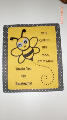 bee sign created with clipart. Added eyes & pipe cleaners for 3-D effect.