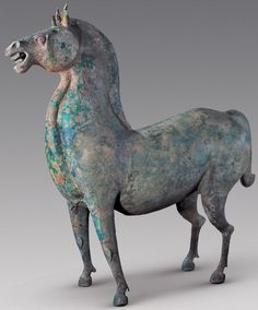 Horse from richly-adorned tomb of a warrior from China's Three Kingdoms period, circa 220-280 A.D., discovered in Xiangyang