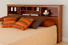 King Size Headboard Cherry Bedroom Furniture Bed Frame Shelves Wood Bedding Beds