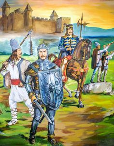 This drawing is interesting because it shows v. slavic peasant fighter, the very Western-armored knight up front, and then a crisscross between Slav and the West on the mounted noble. High Fantasy, Medieval Fantasy, Central And Eastern Europe, German Uniforms, Medieval Times, Knights Templar, World History, Dracula, Middle Ages