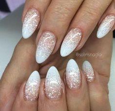 oval ompre nixia me glitter omber summer nail art white strass