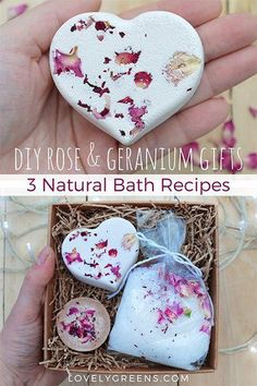Make handmade gifts using these recipes for rose & geranium fizzy bath bombs, creamy bath melts, and mineral-rich scented bath salts. Homemade Beauty, Homemade Gifts, Diy Beauty, Diy Gifts, Soap Gifts, Bath Recipes, Soap Recipes, Diy Cadeau Noel, Cheap Candles