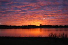 bright sunrise at the lake